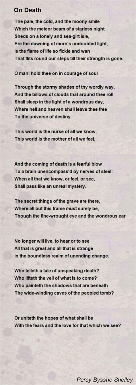 On Death Poem by Percy Bysshe Shelley - Poem Hunter