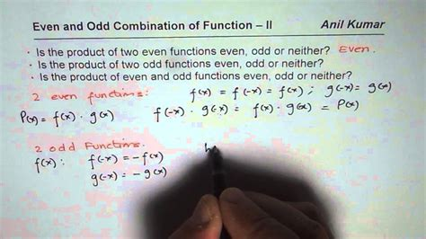 Is Product of Two Odd Function Even Odd or Neither - YouTube