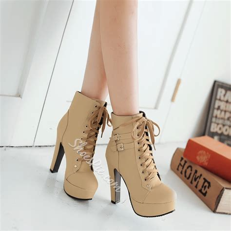 Shoespie Lace up Chunky Heel Ankle Boots- Shoespie