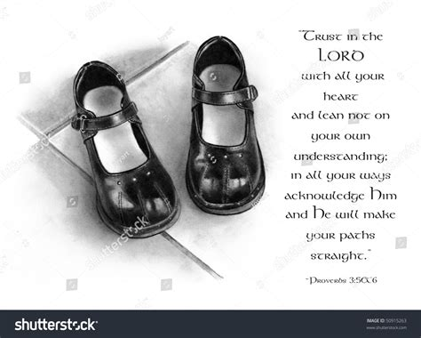 Pencil Drawing Small Shoes Bible Verse Stock Illustration
