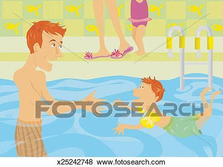 Father in a Swimming Pool Watching His Young Son Learn to