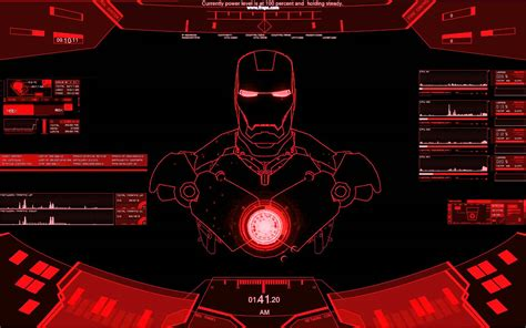 Free download Rainmeter Ironman red theme [1680x1050] for